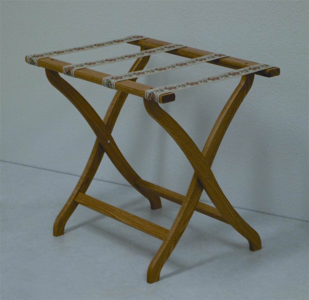 Deluxe Contour Leg Luggage Rack Wood Finish: Light Oak, Fabric: Tapestry
