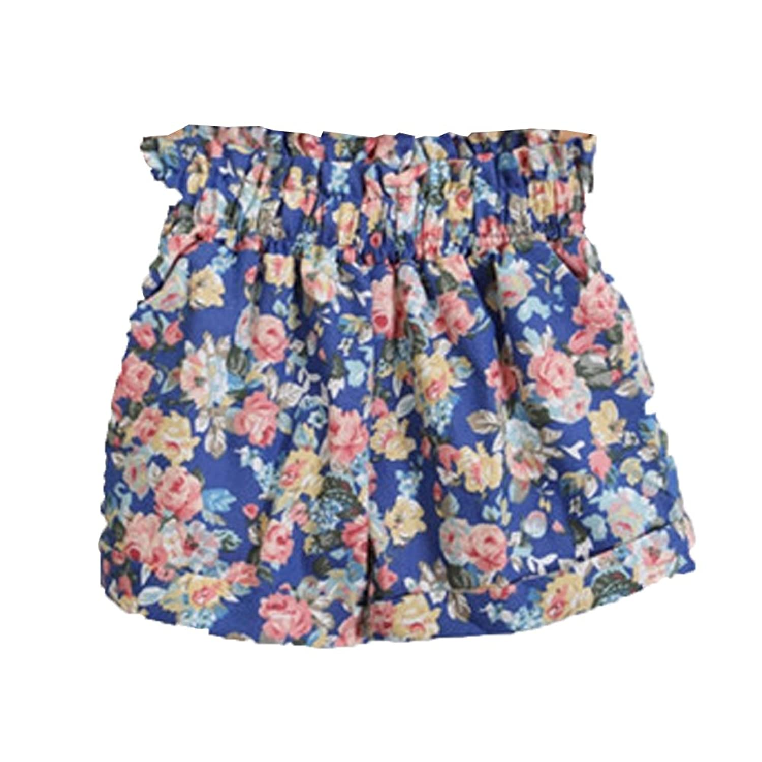 Deercon Women's Summer Casual Elastic Floral Shorts Beachwear(6 colors)