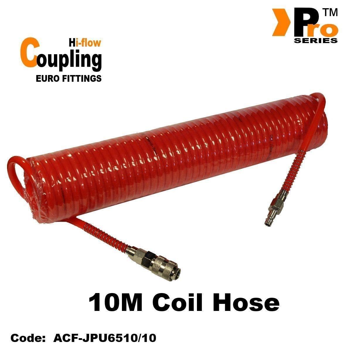 7.5m Orange Coil Hose with Euro Coupling Hi Flow Hi-Flow /& Euro Tail
