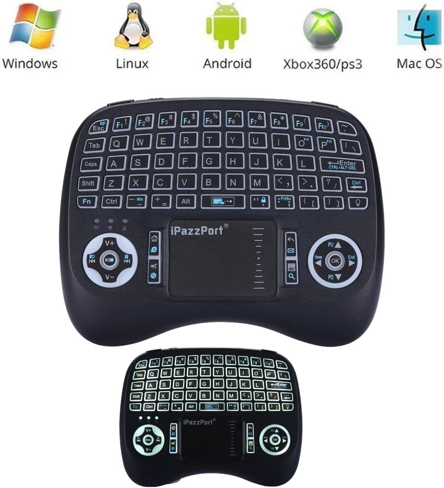 Leelbox 2.4Ghz Mini Keyboard, Wireless Mouse Touchpad Rechargeable Combos for PC Pad Android TV Box, LED Backlit Upgrade Version (Black)