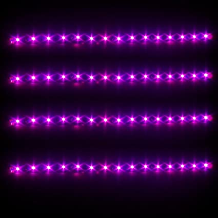 new product 5f724 22723 Partsam 4X 30CM 5050 SMD Car Waterproof DRL Driving Led Strip Lights Pink  Purple 12V