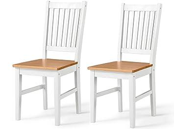 Loft24 TAVIAN 2er Set Stühle Kiefer Massiv Küchenstuhl Esszimmerstuhl Küche Esszimmer  Landhausstil (honig Und Weiß