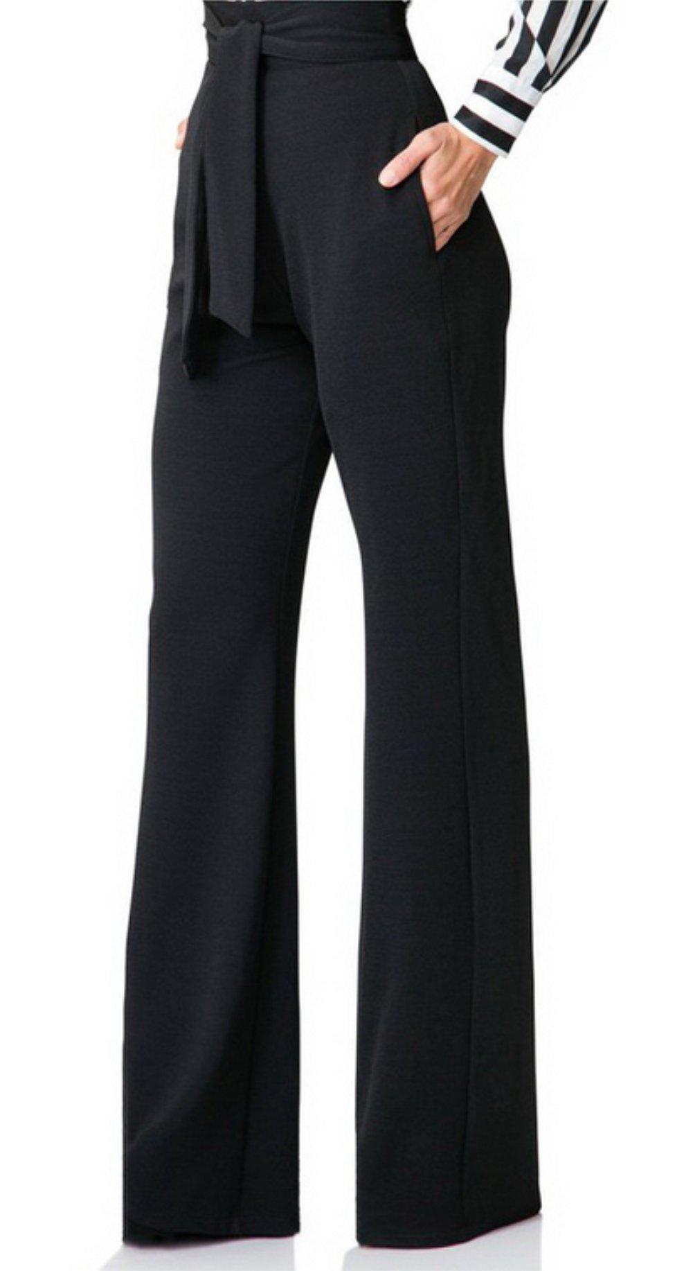 Molisry Women Casual Stretchy Straight Leg High Waisted Long Pants with Belt by Molisry (Image #2)