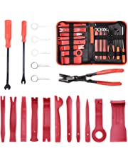MICTUNING 19Pcs Auto Audio Trim Removal Tool Set & Clip Plier Upholstery Fastener Remover Nylon Dash Door Panel Stereo Tool Kits