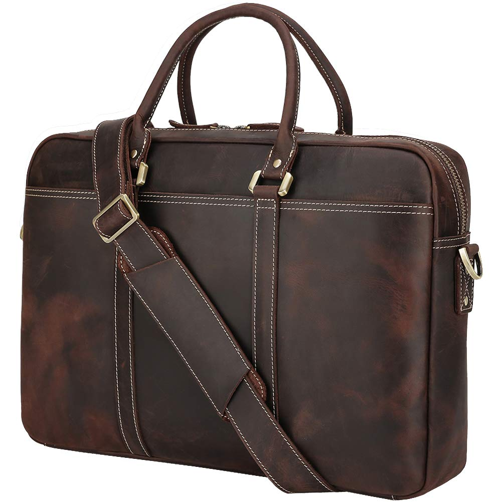 Polare 18.5'' Retro Full Grain Leather Laptop Office Briefcase Fit up to 17.3'' Laptop