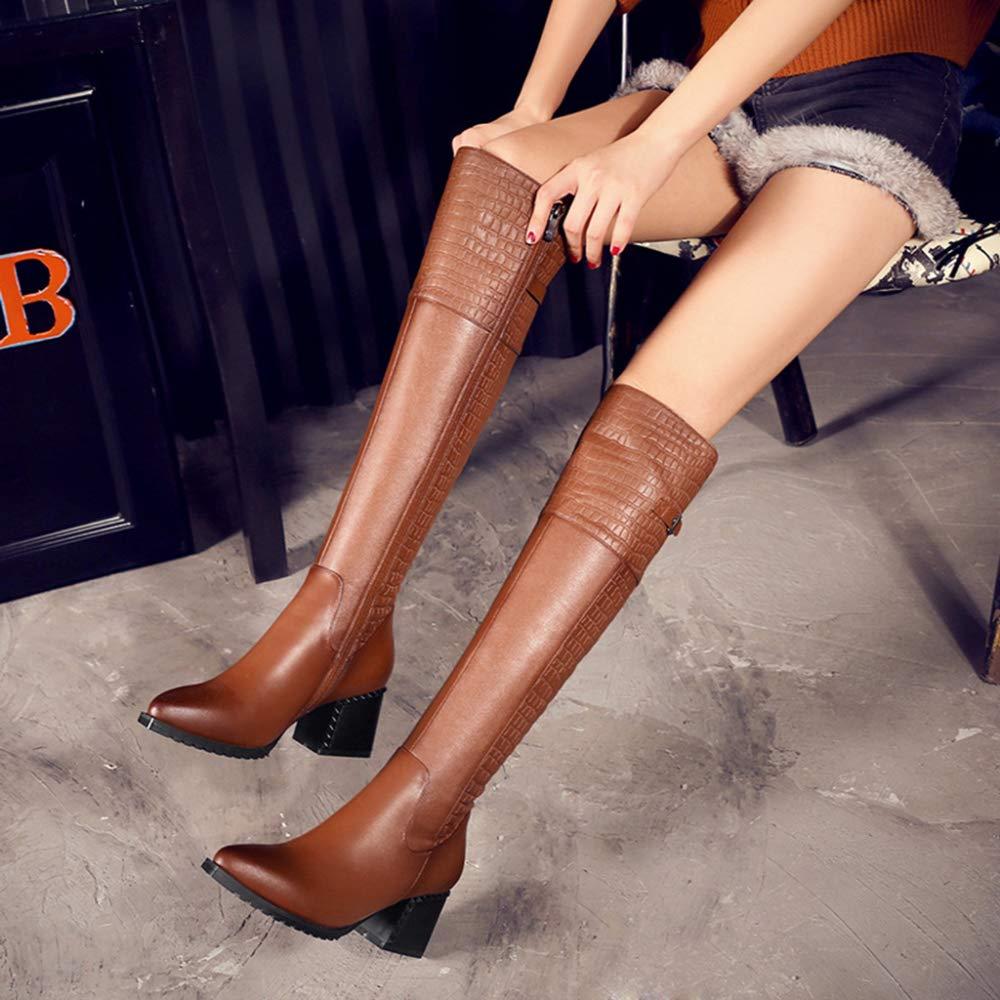 GanSouy Damen Damen Hoch über Dem Dem Dem Knie Elastische Kurvige Stretch-Pull On Low Heel Stiefel Aus Echtem Leder Riding Knight Stiefel 2c83af