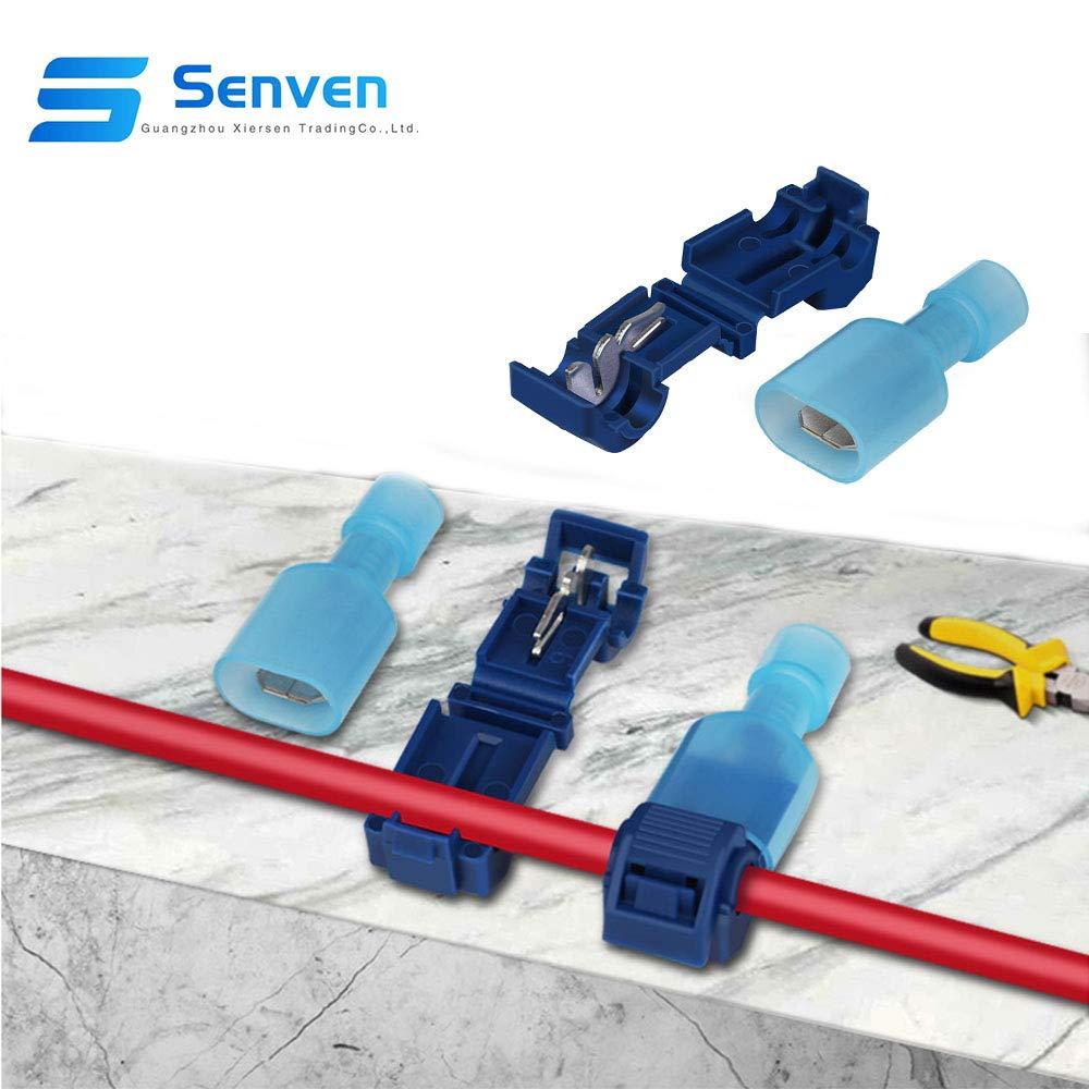 Rojo 25 Pares, Azul 25 Pares, Amarillo 15 Pares T-Tap Empalme R/ápido Kit Grifo de Empalme de Cable R/ápido y Conector Macho Spade Completamente Aislado Senven/® 130Pcs T-Tap Terminal Cable