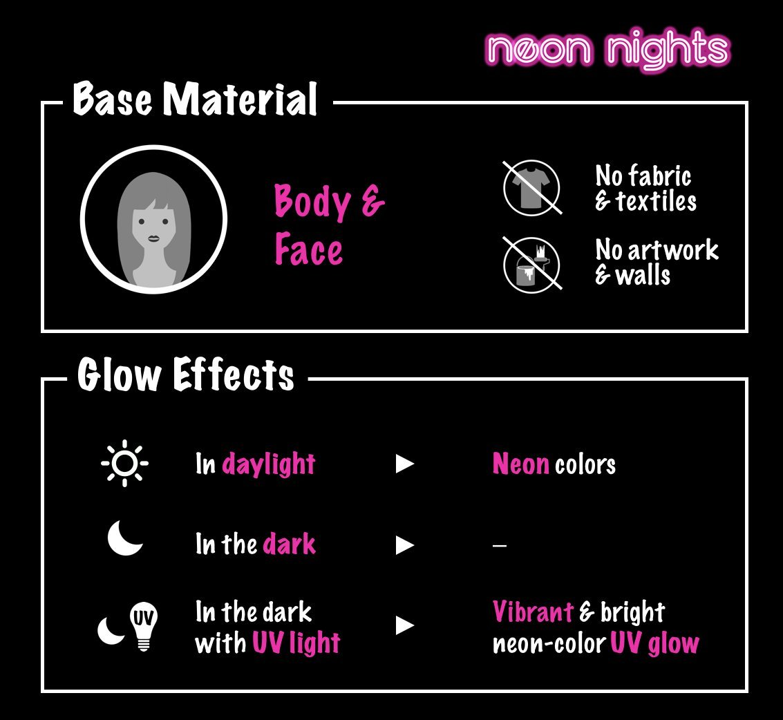 'XXL Set' 24 Cans of Neon Body Paints by neon nights - 16.5 fl oz of Luminescent Body Paints - Long-Lasting Neon Body Paints for Blacklights, UV Lights - Fluorescent Body Paints for Adults by neon nights (Image #6)