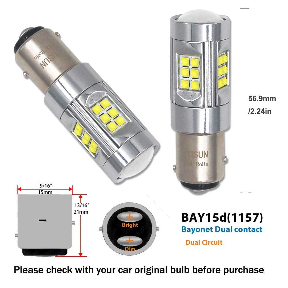HSUN BAY15D P21//5W 1157 LED Bulbs,150W Canbus Error Free System with 30LED CREE XB-D High Power Chip Extremely Bright Bulbs For Car Brake Turn Signal Light and more,2 Pack,6000K White