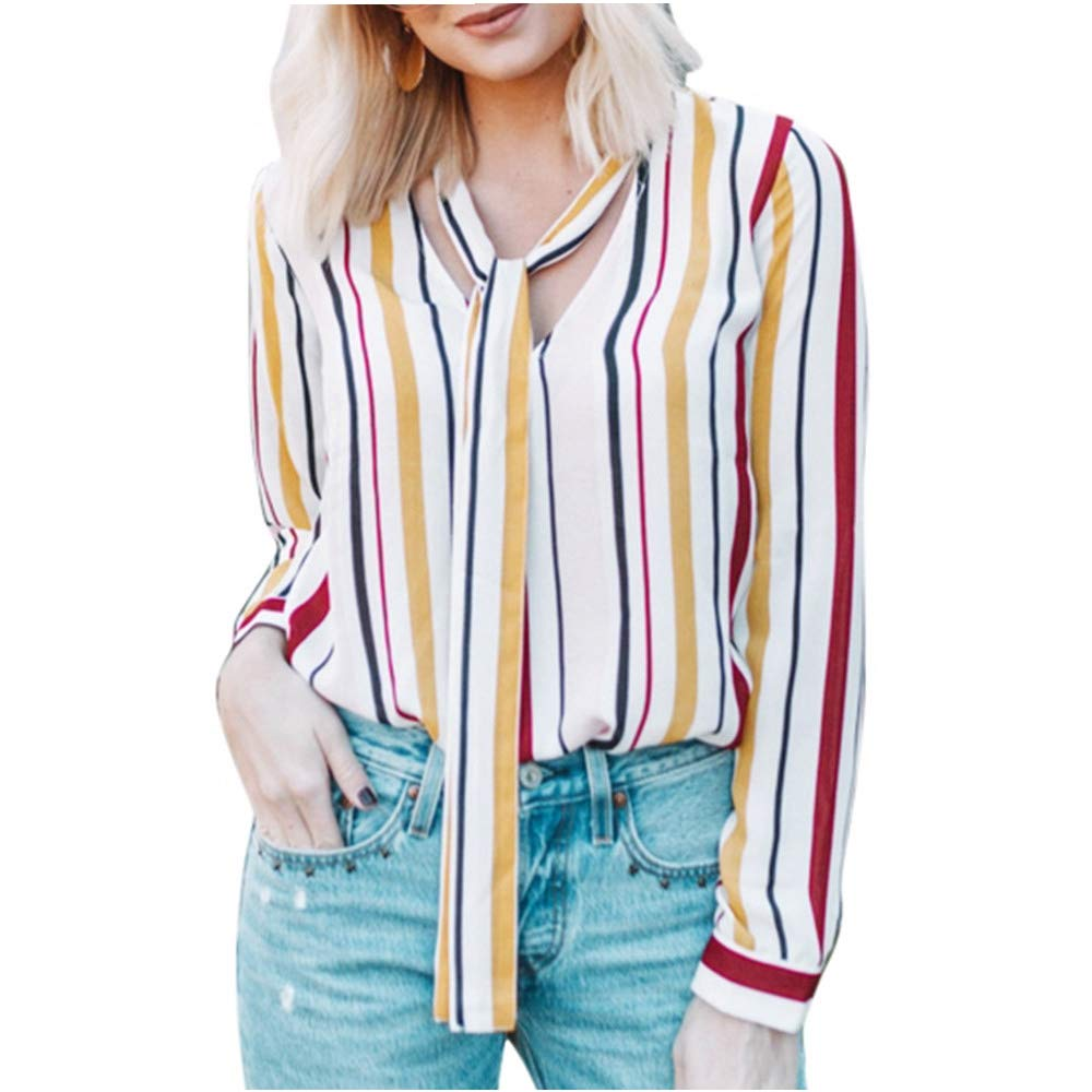 FRana Blouses for Women Long Sleeve Shirts Casual Tops T Shirt Sexy Striped Henley Shirts Tunics Top