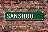 Sanshou Sign Fan Participant Gift Chinese Kickboxing Martial Art Funny Metal Sign Home Door Decoration Sign Indoor 45 x 10cm