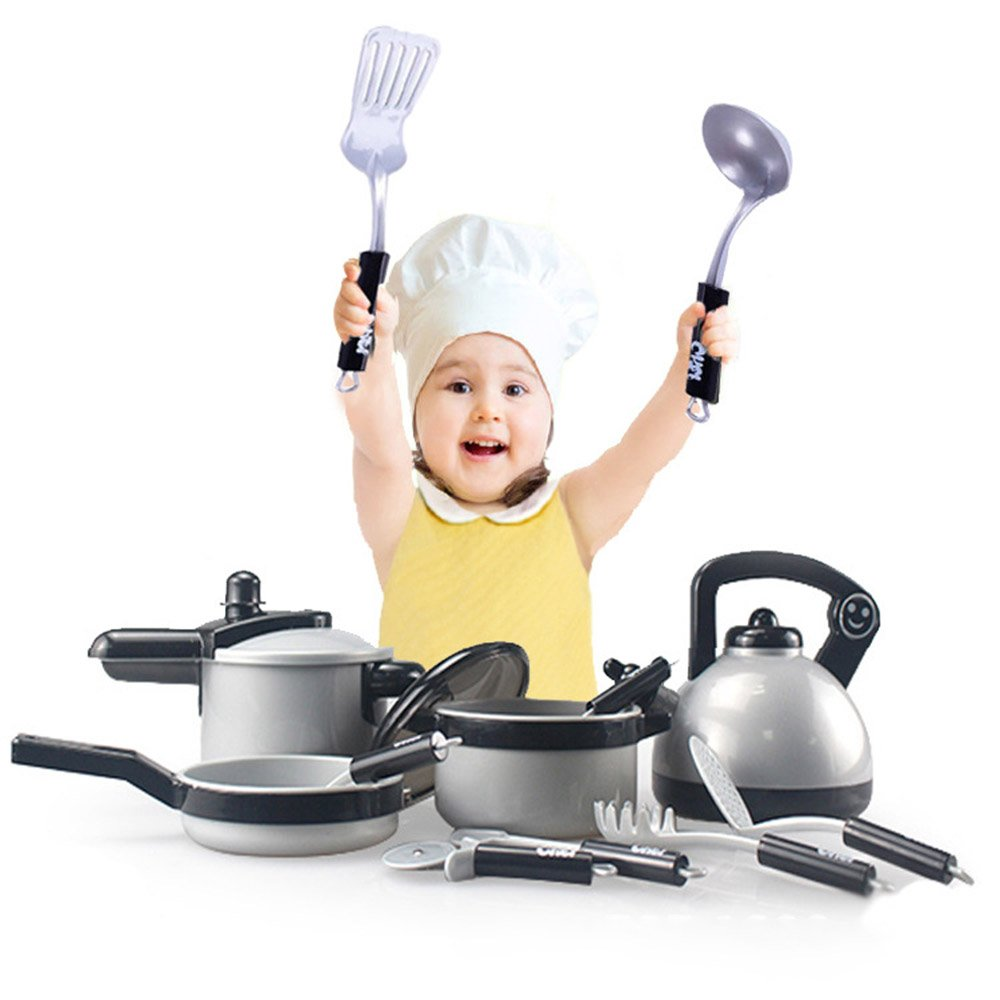 Frealm Chef Set Kitchen Play Set for Kids, Pots and Pans Cookware Playset with Cooking Utensils, Fruit, Vegetable for Toddler Pretend Role Play 19PCS Great Gift (01, 19pcs)