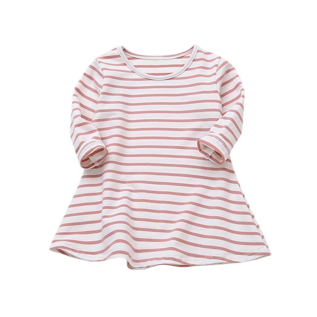 Wesracia Baby Girls Clothes, Long Sleeve Striped Print Dress Casual Toddler Dress (Pink, 120)