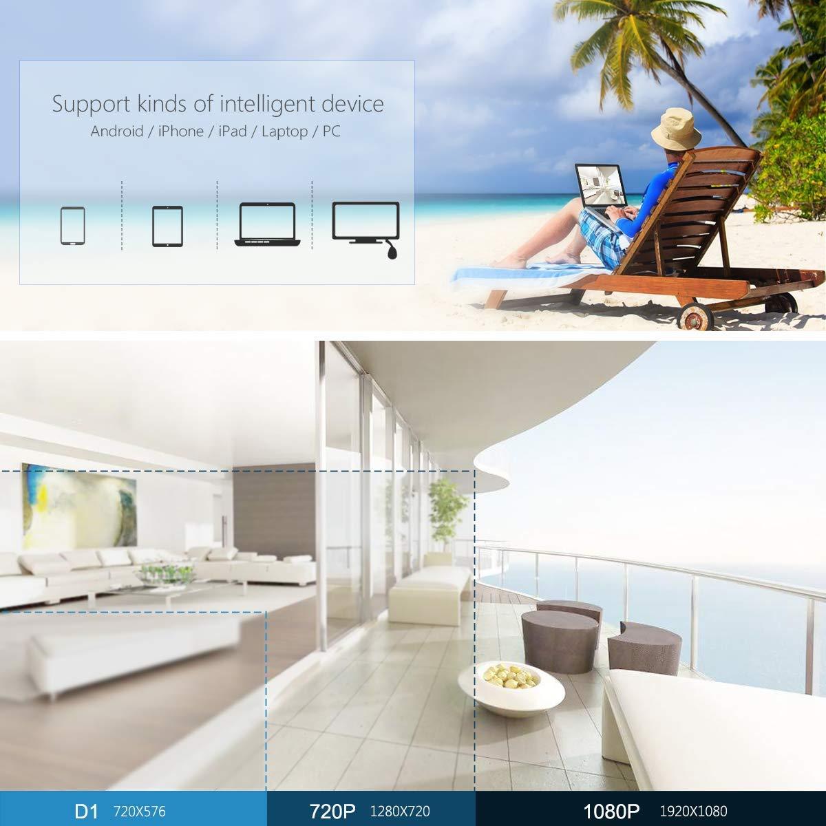sistema di videosorveglianza wireless Full HD 4CH 1080P con HDD da 1TB Telecamere Wireless da esterno 4pz da 2,0 MP indoor Vista remota facile da Zoohi Sistema di telecamere di sicurezza Wireless