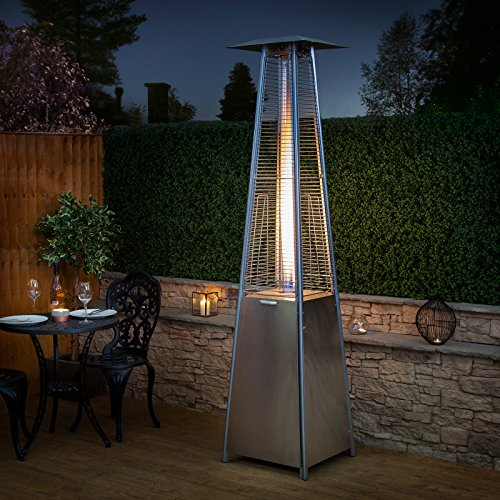 fire mountain living flame gas patio heater in stainless steel inc free regulator and hose amazoncouk garden outdoors - Gas Patio Heater
