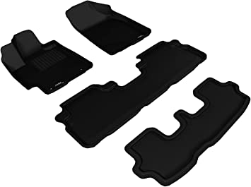 3D MAXpider Complete Set Custom Fit All-Weather Floor Mat for Select Toyota Highlander Models Kagu Rubber Gray