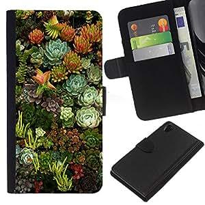 iBinBang / Flip Funda de Cuero Case Cover - Flores Naturaleza Floral Green Garden - Sony Xperia Z2 D6502 D6503 D6543 L50t