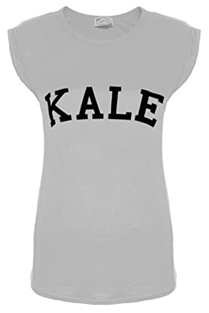 Womens Ladies Kale Print Stretch Stretchy Turn Up Cap Sleeve Tee T Shirt Tops