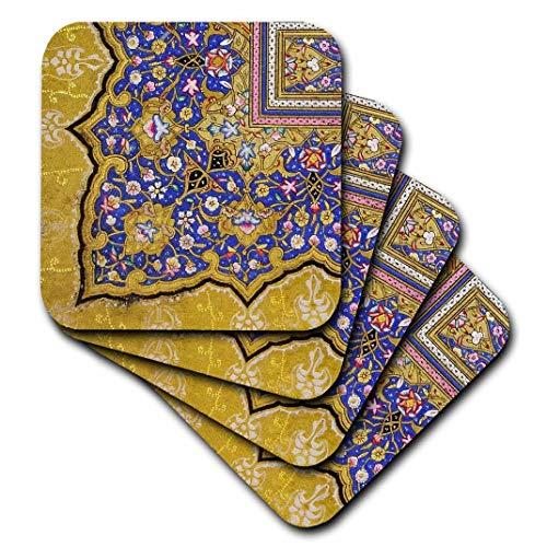 Gold Swirl Pattern - 3dRose cst_162530_3 Purple and Matte Gold Arabian Floral Pattern. Persian Style Flowers and Swirls. Arab Islamic-Ceramic Tile Coasters, Set of 4