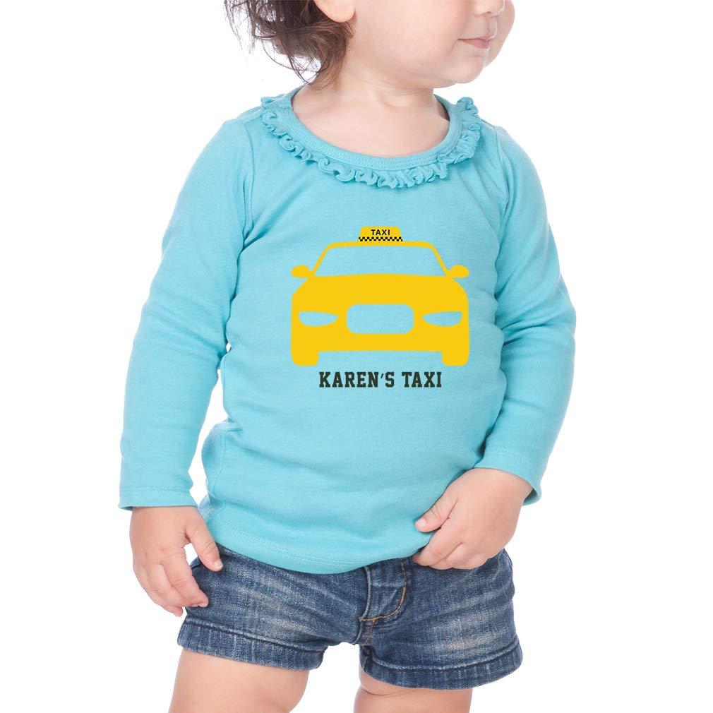 Personalized Custom Yellow Taxi Cotton Toddler Long Sleeve Ruffle Shirt Top