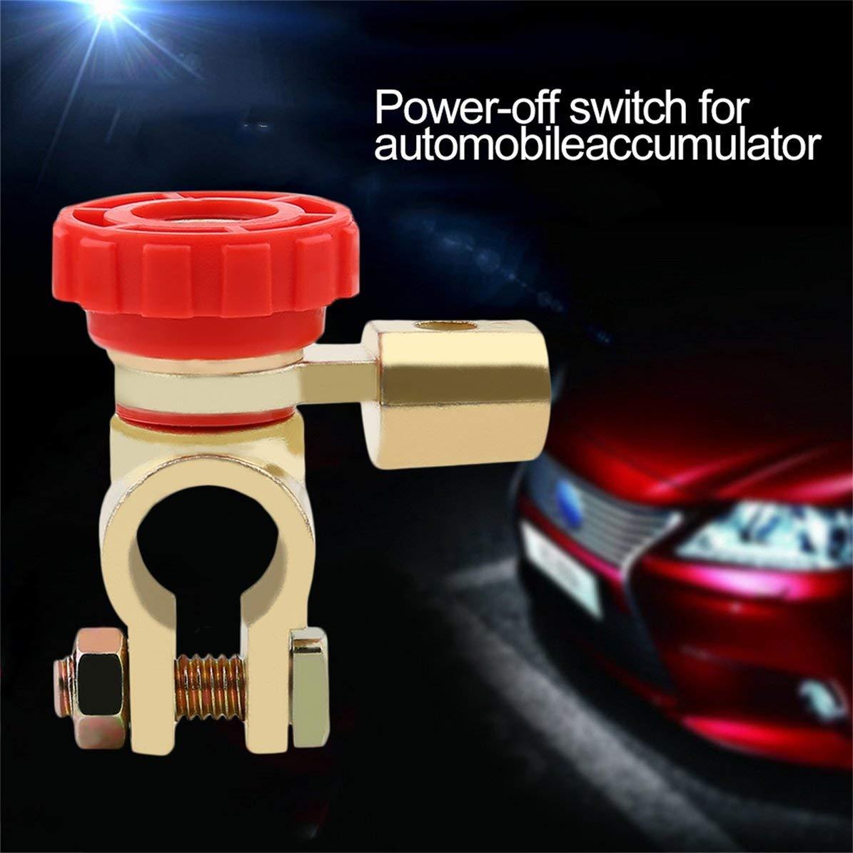 WEIWEITOE 1 unids Universal Bater/ía de Coche Interruptor de Enlace Interruptor Corte R/ápido Desconexi/ón Negro Rojo Cabeza Coche Cami/ón Auto Parts Accesorio Color Rojo y Oro,