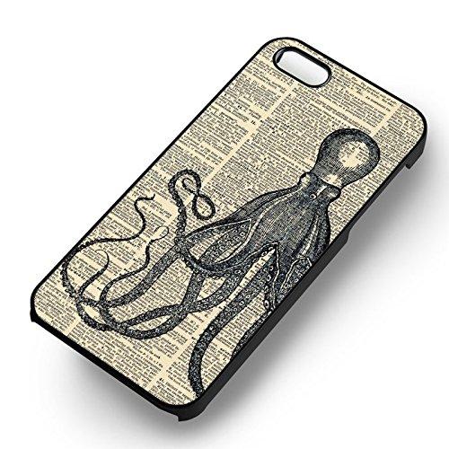 Vintage Octopus Image pour Coque Iphone 6 et Coque Iphone 6s Case (Noir Boîtier en plastique dur) B0E3TU