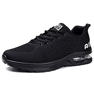 STQ Womens Air Tennis Running Shoes Lightweight Jogging Training Walking Fitness Sport Athletic Sneaker All Black 7.5