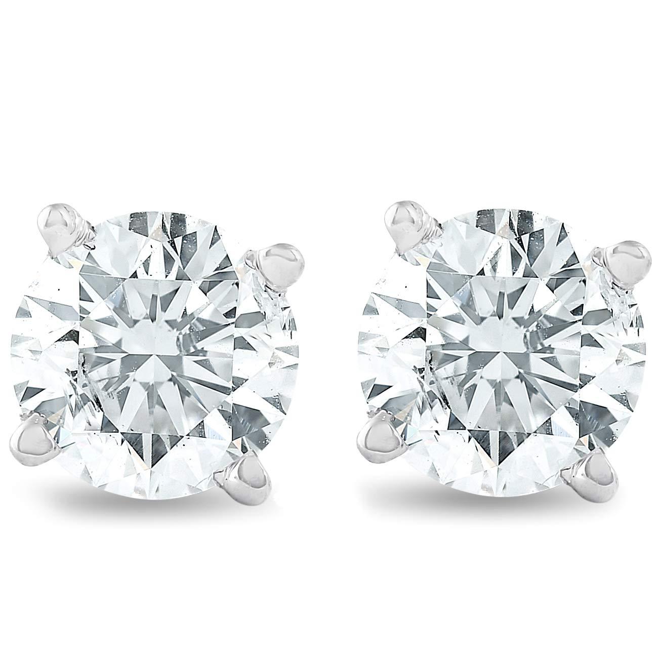 1 1/4 cttw Diamond Studs 14K White Gold IGI Certified Screw Back Earrings