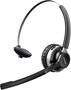 Mpow HC3 Bluetooth Headset V5.0, Dual Microphone Wireless Headphones for Truck Driver, Office,Call Center,Cell Phone,Noise Canceling, Single On Ear Headset(Wired Option)