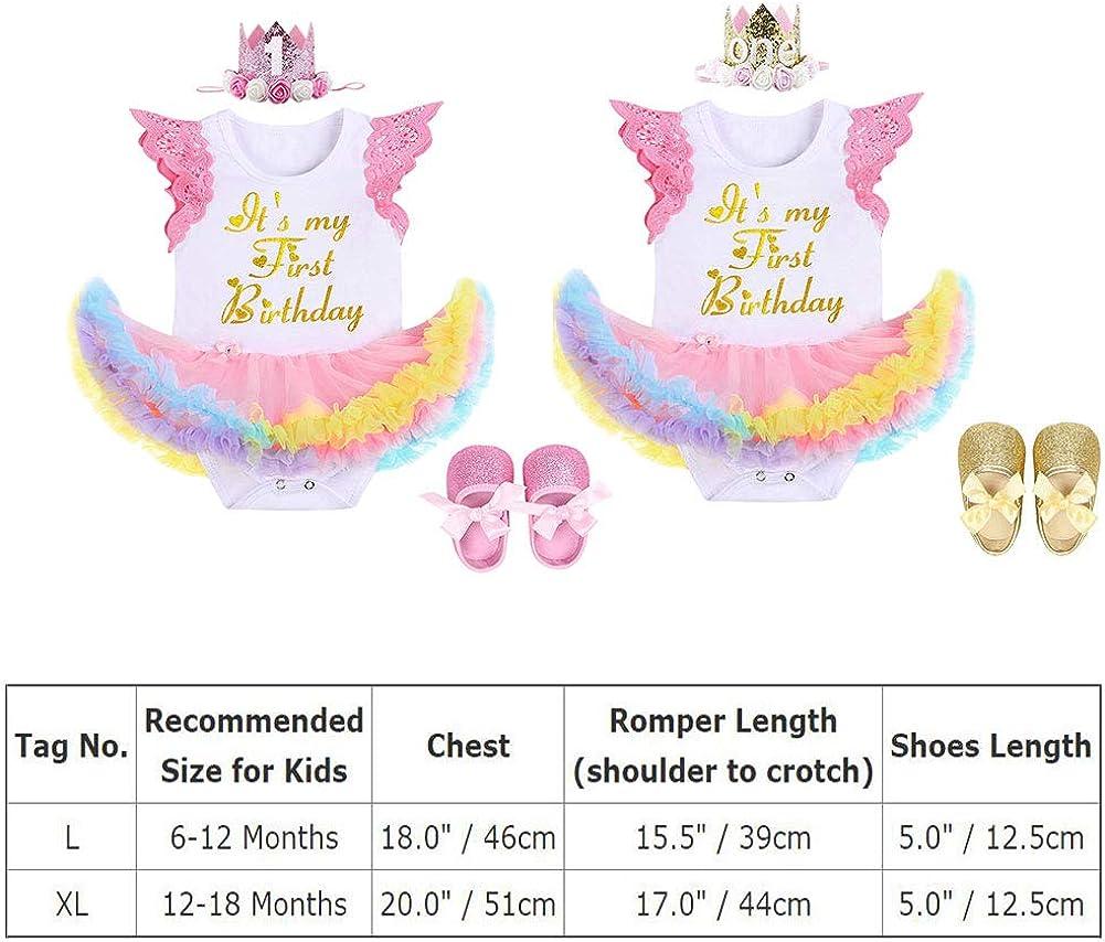 Zapatos 3pcs 1 A/ño Regalo de la Fiesta Accesorios de la Foto FYMNSI Infantil Beb/é Ni/ña Es mi Primer Vestido de Cumplea/ños Encaje Princesa Arco Iris Tutu Romper Vestido Corona Diadema