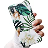 iPhone Xs Case for Girls, ooooops Green Leaves with White & Brown Flowers Pattern Design, Slim Fit Clear Bumper Soft TPU Full-Body Protective Cover Case for iPhone X/XS 5.8'' (Leaves & Flowers)