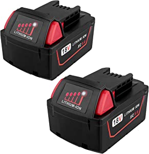 Biswaye 2 Pack 18V 5.0Ah M18 Battery for Milwaukee 48-11-1850, Replacement for Milwaukee M18 Cordless Power Tools 18V XC Lithium Battery 48-11-1852 48-11-1850 48-11-1840