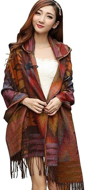 52a277da18 YEESAM Hooded Shawl for Women Blanket Cape Ponchos Coat Tassel Fringe  Bohemian Scarf ( 1