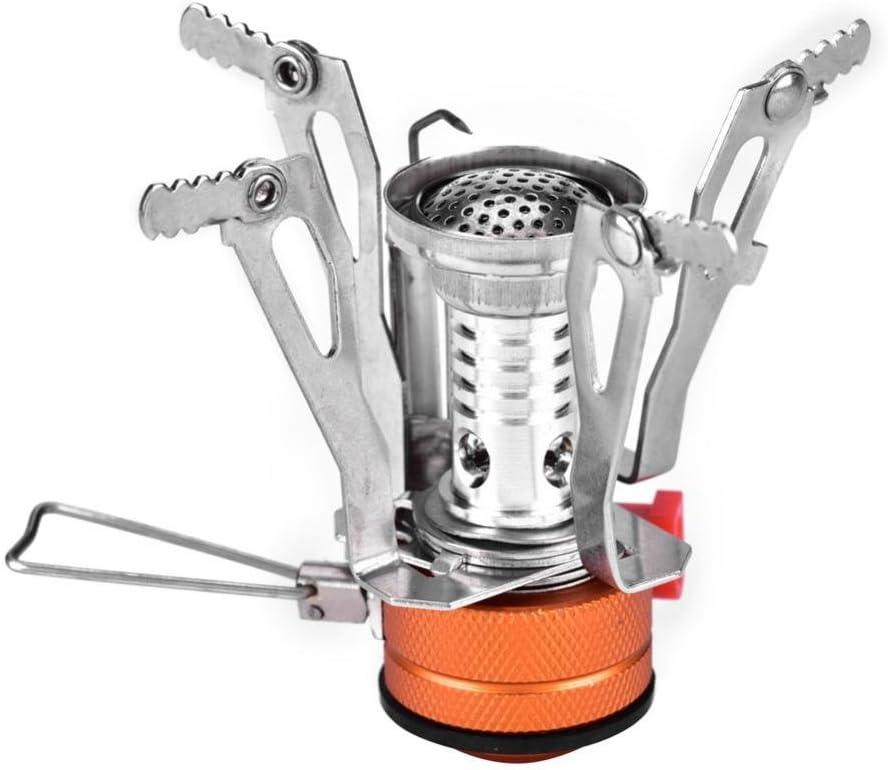 V GEBY Mini Estufa de Gas para Camping Estufa port/átil a Prueba de Viento con Quemador de Cocina al Aire Libre de Encendido piezoel/éctrico para Picnic