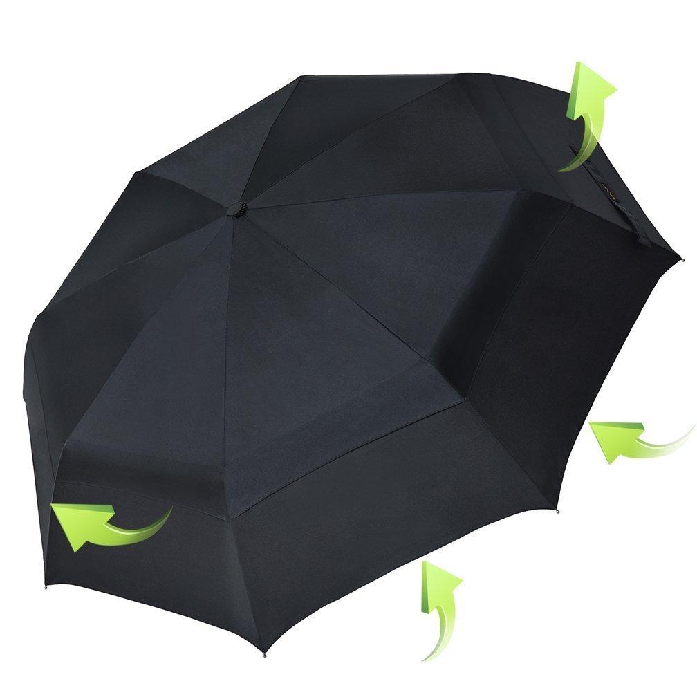 KOLER Travel Umbrella Windproof Auto Open Close Large Sized Double Canopy Waterproof & Sunproof 46 Inch Oversized Folding Umbrellas – Black