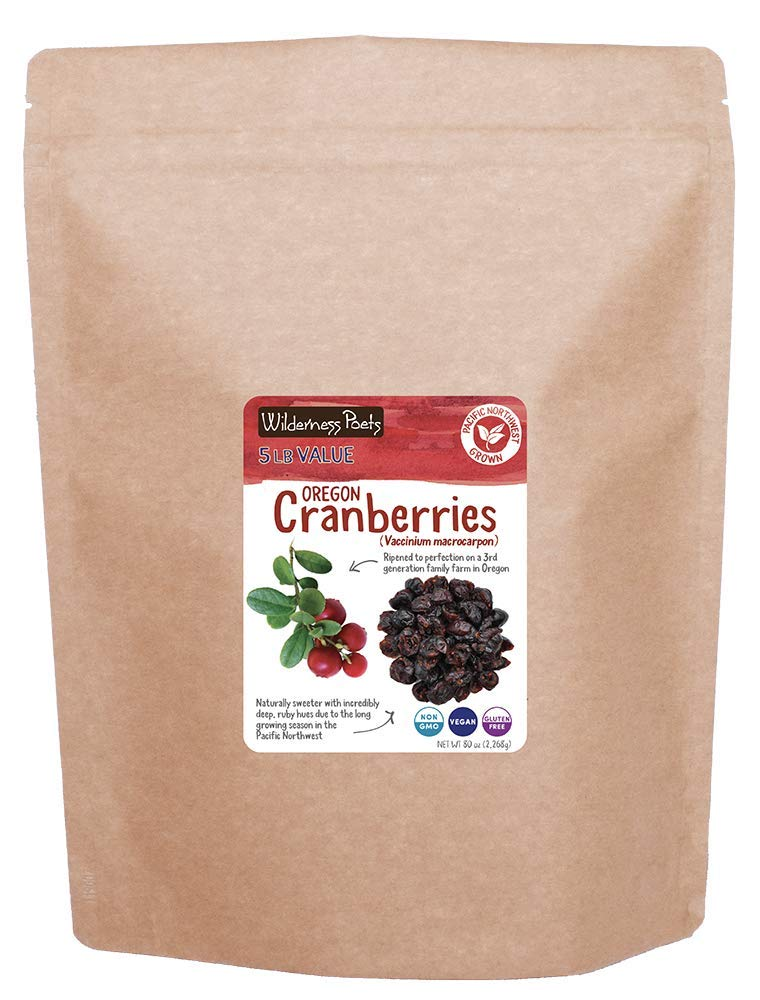 Wilderness Poets Oregon Cranberries (Sweetened with Apples) - Bulk Dried Cranberries - 5 lb (80 oz) Pouch