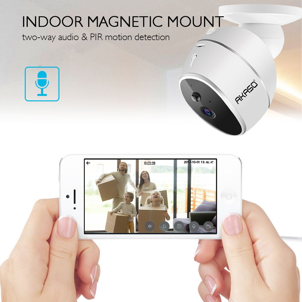 AKASO WIFI Security Camera, HD 720P Rechargeable Wireless IP Camera,Two-Way Audio,Night Vision,PIR Motion Detection, Indoor/Office/Home Surveillance/Baby Monitor, Powered by Batteries (Hawkeye 1) by AKASO (Image #3)