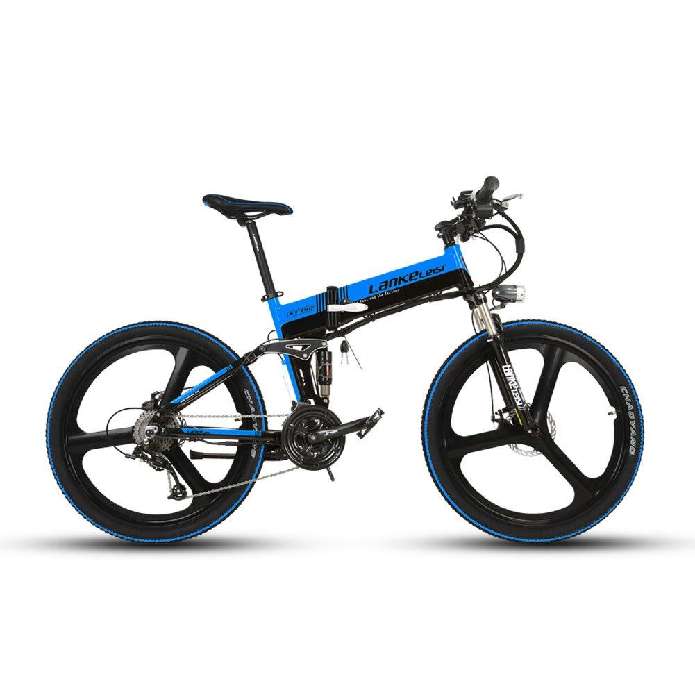 Extrbici XT750 折りたたみ自転車 27段変速 自転車 マウンテンバイク 26インチ アルミフレーム ディスクブレーキ 泥除け付き アップグレード 新品セール B074WPZQVVブルーブラック