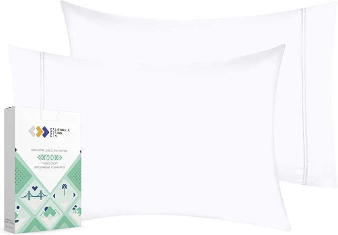 California Design Den 600 Thread Count Pillowcase Set Of 2 100 Long Staple Combed Cotton Breathable Soft Sateen Weave Luxury Hotel Quality Pillow Cases King Pure White Amazon Ca Home Kitchen