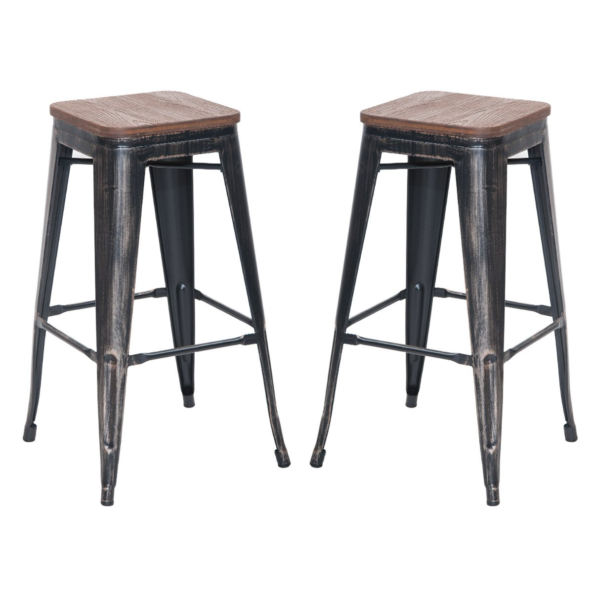 Merax 30'' High Backless Metal Indoor-Outdoor Bar Stool with Wooden Seat, Set of 2 (Distressed Black)