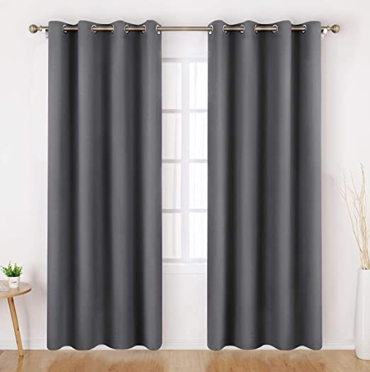 Amazon Com Homeideas Grey Gray Blackout Curtains 52 X 84 Inch Long Set Of 2 Panels Room Darkening Bedroom Curtains Drapes Thermal Grommet Light Bolcking Window Curtains For Living Room Home Kitchen
