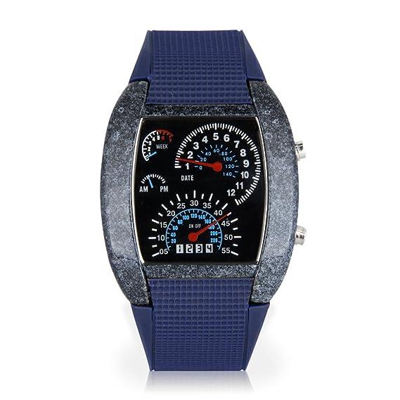 Relojes LED moda aviación personalidad confesión sector azul lámpara de mesa de cerámica-Azul