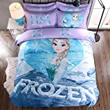 CASA 100% Cotton Kids Bedding Set Girls Frozen Elsa Duvet cover and Pillow cases and Flat sheet,girls,4 Pieces,King