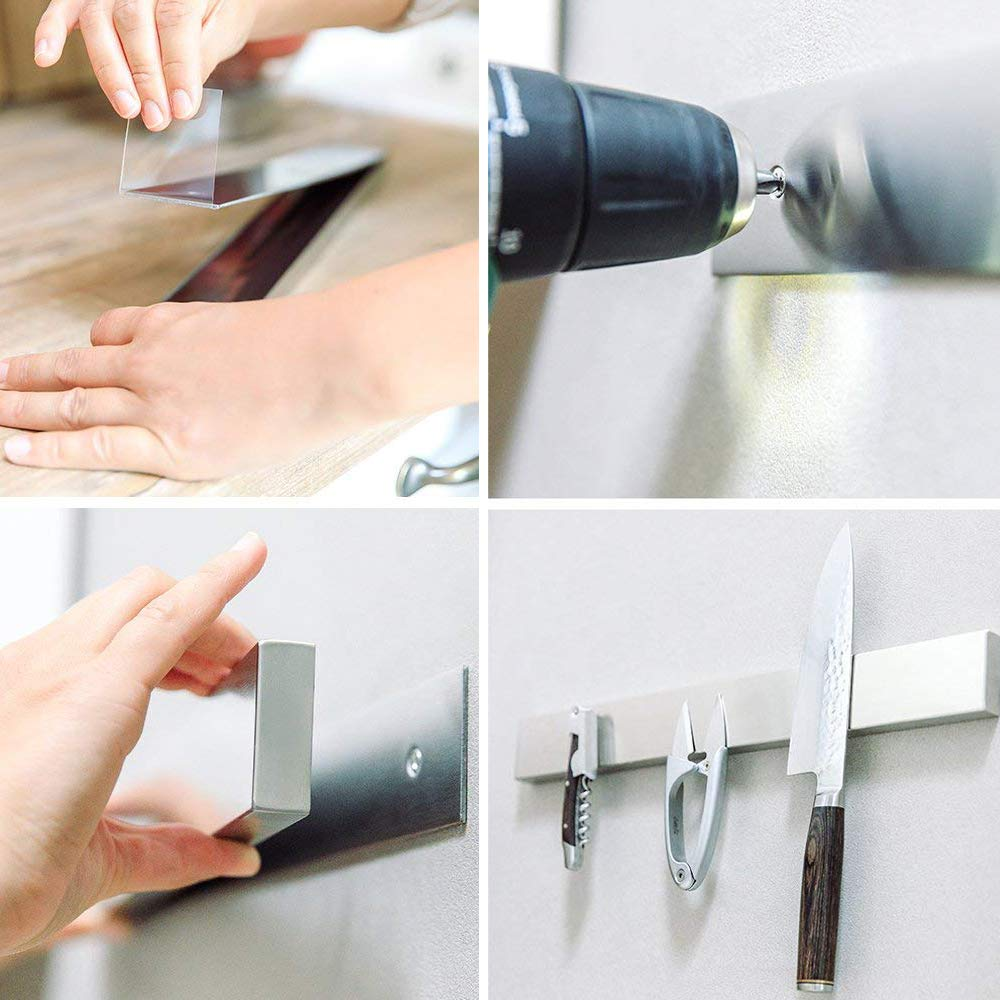 YANGMAN Wall Magnetic Knife Holder,Multi-Purpose Functionality As A Knife Holder Knife Strip Knife Rack Magnetic Tool Organizer 40 cm Stainless Steel Bar (Silver) by YANGMAN (Image #5)