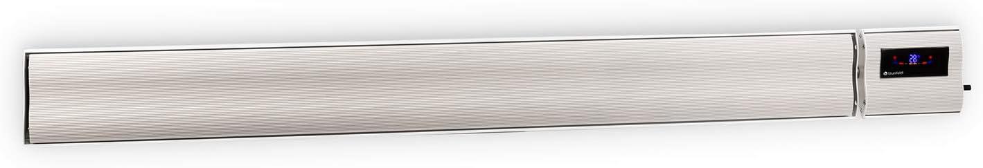 Blumfeldt Cosmic Beam Plus XXL - Radiador infrarrojo, Calefactor de exteriores, Estufa de terraza, 3000 W, Grado de protección IP44, Mando a Distancia, Material de Montaje, Modo Eco, Blanco