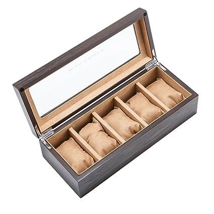 Organizador de cajas de reloj Caja de reloj de madera Caja de almacenamiento de pantalla de