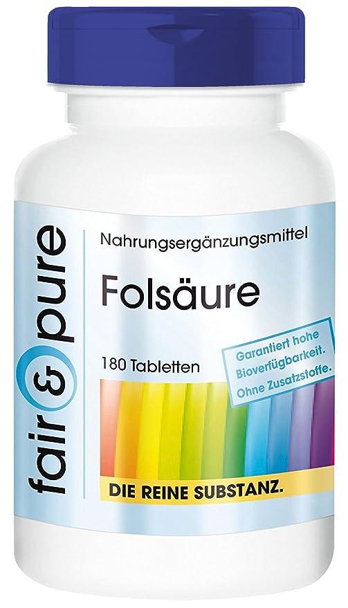 Ácido fólico 800 mcg - 180 comprimidos vegetarianas - Sustancia pura y sin aditivos