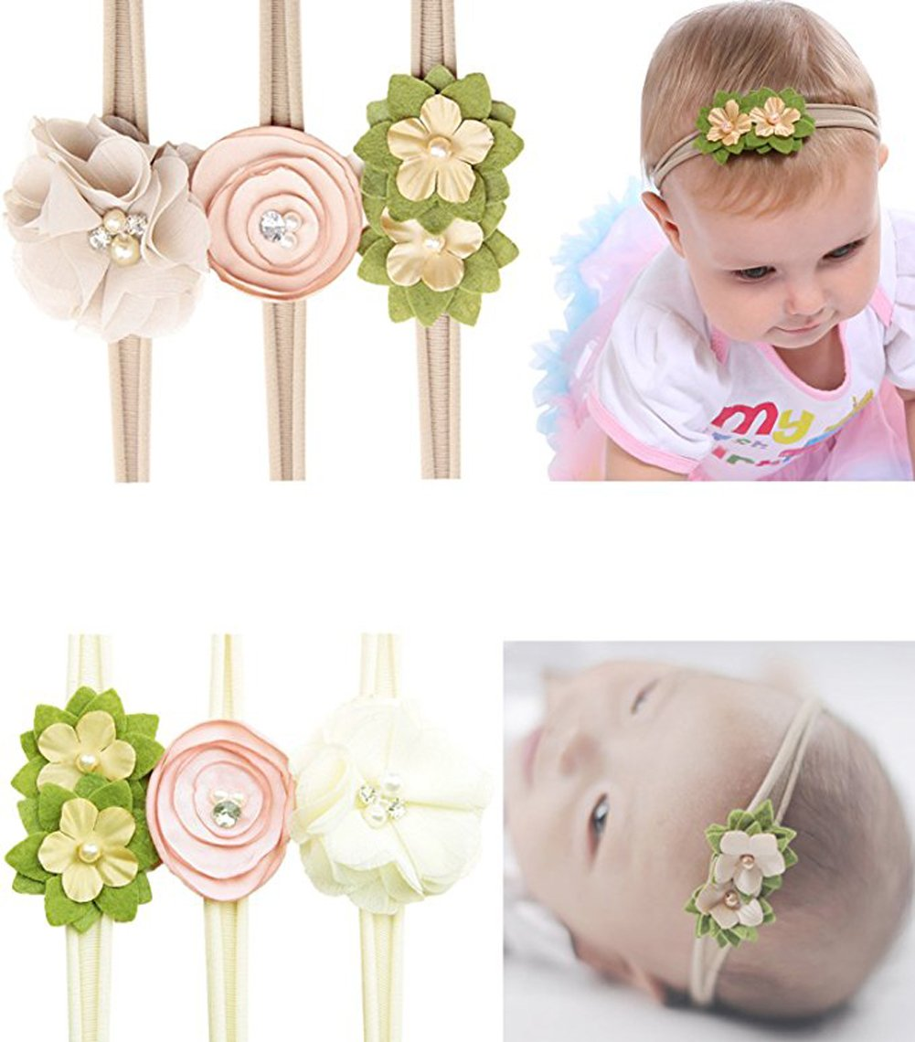 Jiaqee Baby Girl Headband Set - 6 Pcs Crystal Pearls Flower Soft Elastic Nylon HairBand Hair Ties For Toddler Gift Jiamei E-commerce Co . Ltd