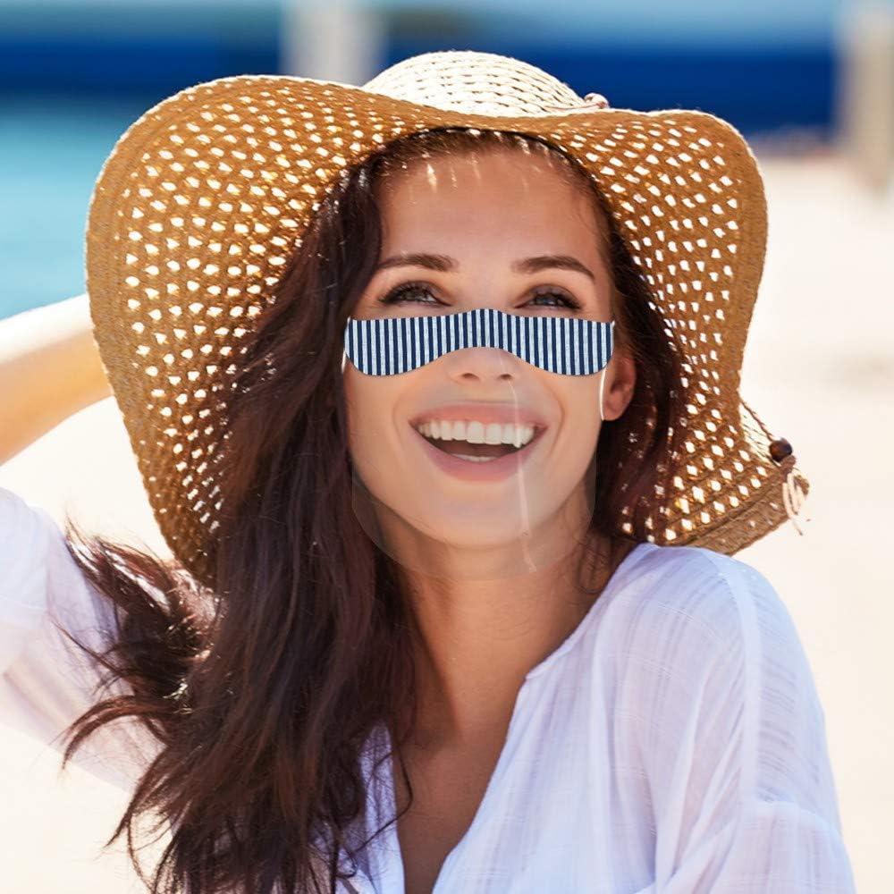 Washable Reusable Comfortable Mini Face Bandanas 4 Pack Reusable Half Face Shield with Transparent PVC Visual for Adult