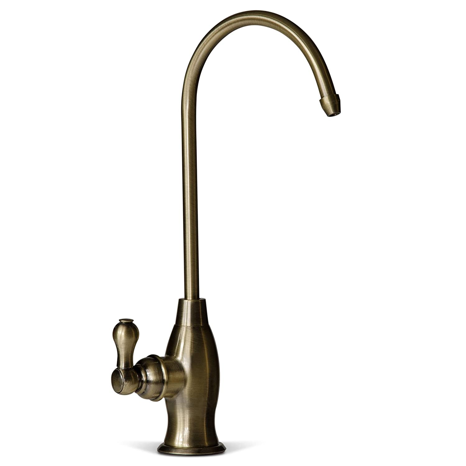 iSpring GK1-AB Heavy Duty Kitchen Bar Sink Drinking Water Faucet, Commercial Water Filtration Faucet Antique Brass Designer Coke Shaped Style High Spout